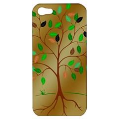 Tree Root Leaves Contour Outlines Apple Iphone 5 Hardshell Case by Simbadda