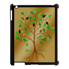 Tree Root Leaves Contour Outlines Apple Ipad 3/4 Case (black) by Simbadda
