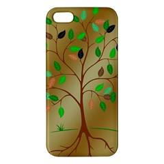 Tree Root Leaves Contour Outlines Apple Iphone 5 Premium Hardshell Case by Simbadda
