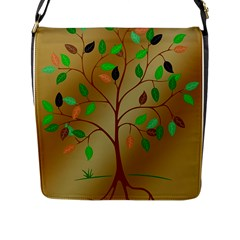 Tree Root Leaves Contour Outlines Flap Messenger Bag (l)  by Simbadda