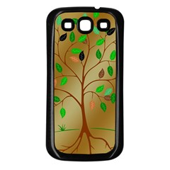 Tree Root Leaves Contour Outlines Samsung Galaxy S3 Back Case (black) by Simbadda