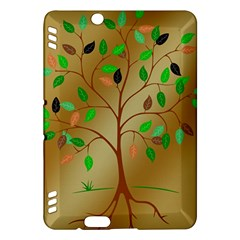 Tree Root Leaves Contour Outlines Kindle Fire Hdx Hardshell Case by Simbadda