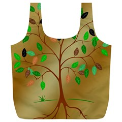 Tree Root Leaves Contour Outlines Full Print Recycle Bags (l)  by Simbadda