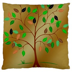 Tree Root Leaves Contour Outlines Large Flano Cushion Case (two Sides) by Simbadda