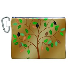 Tree Root Leaves Contour Outlines Canvas Cosmetic Bag (xl) by Simbadda