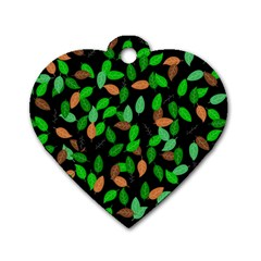 Leaves True Leaves Autumn Green Dog Tag Heart (one Side) by Simbadda