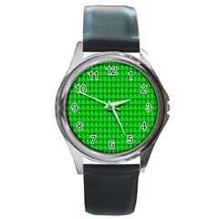 St  Patricks Day Green Round Metal Watch by PhotoNOLA