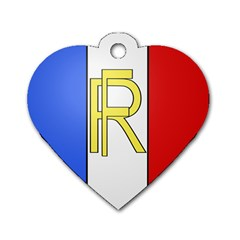 Semi Official Shield Of France Dog Tag Heart (one Side) by abbeyz71
