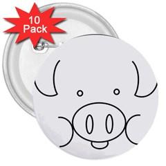 Pig Logo 3  Buttons (10 Pack)  by Simbadda