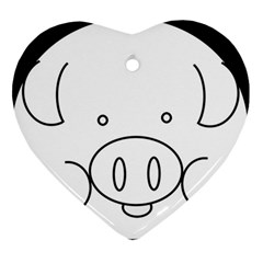 Pig Logo Heart Ornament (two Sides) by Simbadda