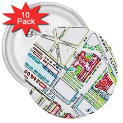 Paris Map 3  Buttons (10 Pack)  by Simbadda