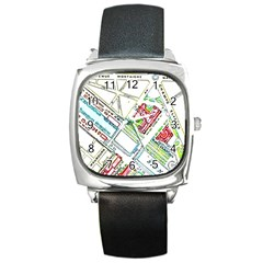 Paris Map Square Metal Watch by Simbadda