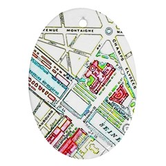 Paris Map Oval Ornament (two Sides) by Simbadda