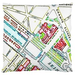 Paris Map Large Cushion Case (two Sides) by Simbadda