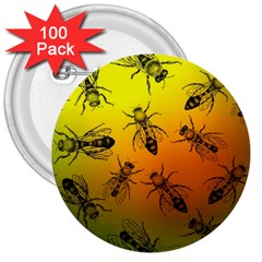 Insect Pattern 3  Buttons (100 Pack)  by Simbadda