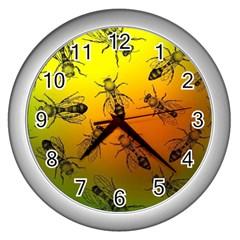 Insect Pattern Wall Clocks (silver)  by Simbadda
