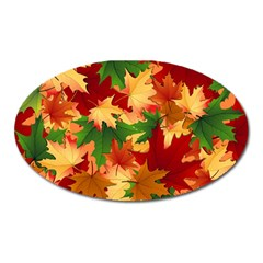 Autumn Leaves Oval Magnet by Simbadda