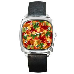 Autumn Leaves Square Metal Watch by Simbadda