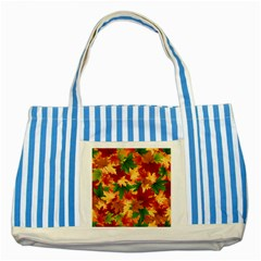 Autumn Leaves Striped Blue Tote Bag by Simbadda