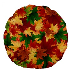 Autumn Leaves Large 18  Premium Round Cushions by Simbadda