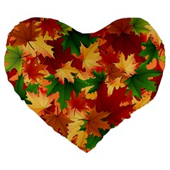 Autumn Leaves Large 19  Premium Flano Heart Shape Cushions by Simbadda