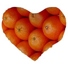 Orange Fruit Large 19  Premium Heart Shape Cushions by Simbadda