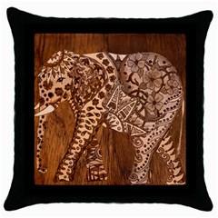 Elephant Aztec Wood Tekture Throw Pillow Case (black) by Simbadda