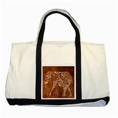 Elephant Aztec Wood Tekture Two Tone Tote Bag by Simbadda