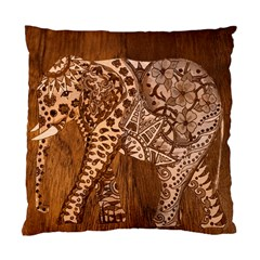 Elephant Aztec Wood Tekture Standard Cushion Case (two Sides) by Simbadda