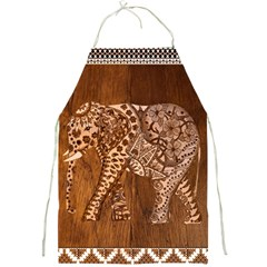 Elephant Aztec Wood Tekture Full Print Aprons by Simbadda