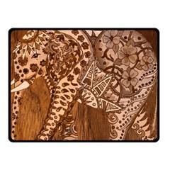 Elephant Aztec Wood Tekture Fleece Blanket (small) by Simbadda