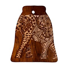 Elephant Aztec Wood Tekture Bell Ornament (two Sides) by Simbadda