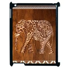 Elephant Aztec Wood Tekture Apple Ipad 2 Case (black) by Simbadda