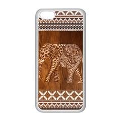 Elephant Aztec Wood Tekture Apple Iphone 5c Seamless Case (white) by Simbadda