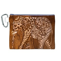 Elephant Aztec Wood Tekture Canvas Cosmetic Bag (xl) by Simbadda