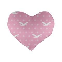 Wallpaper Same Palette Pink Star Bird Animals Standard 16  Premium Flano Heart Shape Cushions by Alisyart