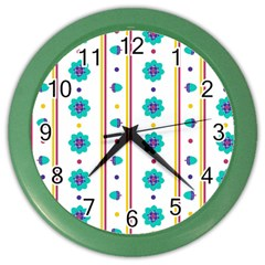 Beans Flower Floral Blue Color Wall Clocks by Alisyart