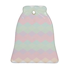 Argyle Triangle Plaid Blue Pink Red Blue Orange Bell Ornament (two Sides) by Alisyart