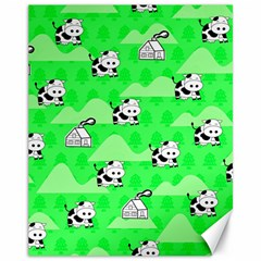 Animals Cow Home Sweet Tree Green Canvas 11  X 14   by Alisyart