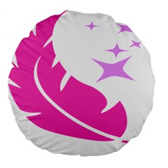 Bird Feathers Star Pink Large 18  Premium Flano Round Cushions by Alisyart