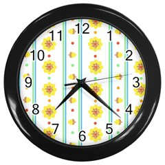 Beans Flower Floral Yellow Wall Clocks (black) by Alisyart