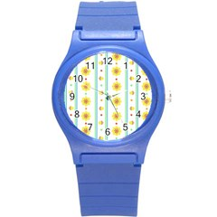 Beans Flower Floral Yellow Round Plastic Sport Watch (s) by Alisyart