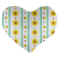 Beans Flower Floral Yellow Large 19  Premium Heart Shape Cushions by Alisyart