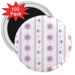 Beans Flower Floral Purple 3  Magnets (100 Pack) by Alisyart