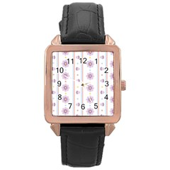 Beans Flower Floral Purple Rose Gold Leather Watch  by Alisyart
