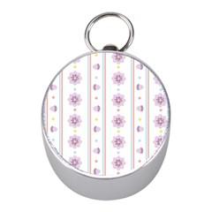 Beans Flower Floral Purple Mini Silver Compasses by Alisyart