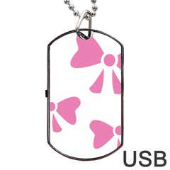 Bow Ties Pink Dog Tag Usb Flash (one Side) by Alisyart
