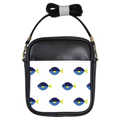 Blue Fish Swim Yellow Sea Beach Girls Sling Bags by Alisyart
