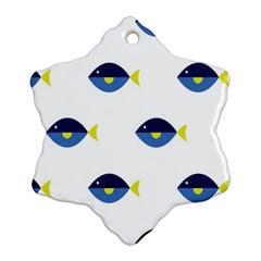 Blue Fish Swim Yellow Sea Beach Ornament (snowflake) by Alisyart