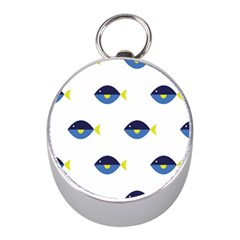 Blue Fish Swim Yellow Sea Beach Mini Silver Compasses by Alisyart